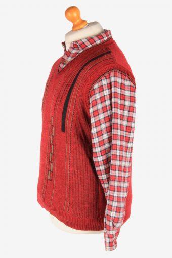 Men's Sleeveless Jumper Gilet Cardigan Vintage Size M Burgundy -IL2608-164373