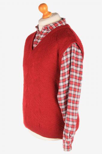 Men's Sleeveless Jumper Gilet Cardigan Vintage Size M Burgundy -IL2609-164377
