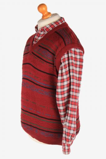 Men's Sleeveless Jumper Gilet Cardigan Vintage Size M Maroon -IL2610-164381
