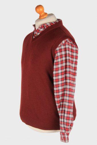 Men's Sleeveless Jumper Gilet Cardigan Vintage Size L Burgundy -IL2611-164385