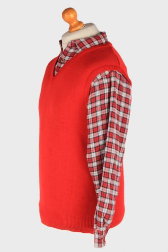 Women's Sleeveless Jumper Gilet Cardigan Vintage Size S Red -IL2613-164393