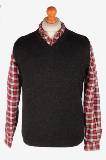 Sleeveless Jumper Cardigan Waiscoat V Neck Vintage Size M Dark Grey -IL2623-164432