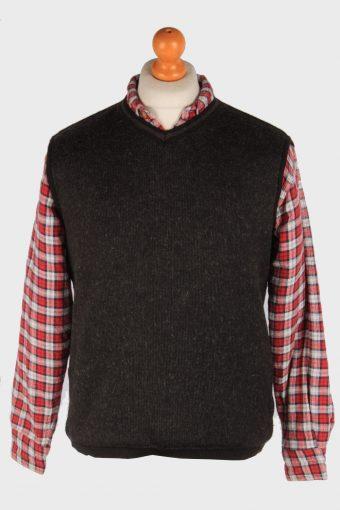 Sleeveless Jumper Cardigan Waiscoat V Neck Vintage Size M Dark Grey -IL2624-164436