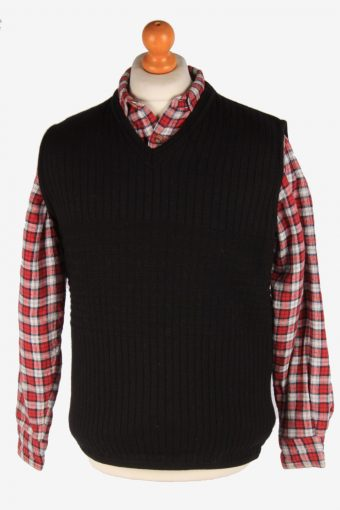 Sleeveless Jumper Cardigan Waiscoat V Neck 80s Black L