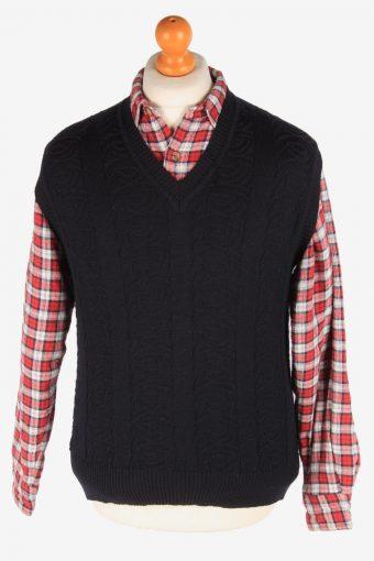 Sleeveless Jumper Cardigan Waiscoat V Neck Vintage Size M Black -IL2626-164444