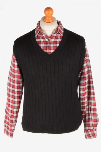 Sleeveless Jumper Cardigan Waiscoat V Neck Vintage Size M Black -IL2628-164452
