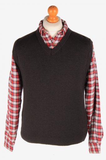 Sleeveless Jumper Cardigan Waiscoat V Neck Vintage Size S Black -IL2629-164456
