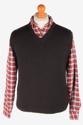Sleeveless Jumper Cardigan Waiscoat V Neck 80s Black S