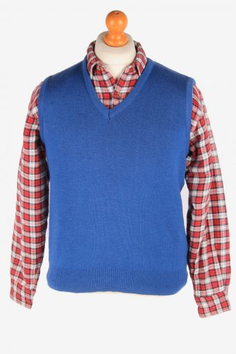 Sleeveless Jumper Cardigan Waiscoat V Neck 80s Blue M