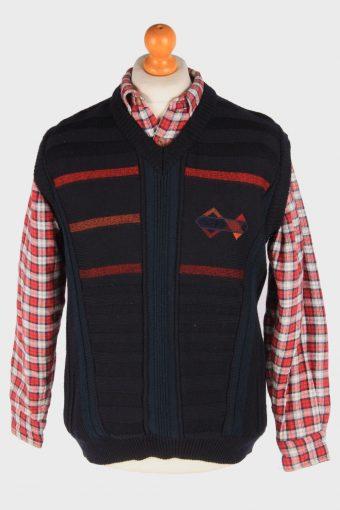 Sleeveless Jumper Cardigan Waiscoat V Neck Vintage Size M Navy -IL2631-164464