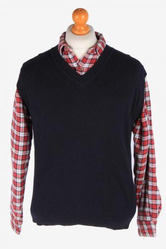 Sleeveless Jumper Cardigan Waiscoat V Neck Vintage Size M Navy -IL2632-164468