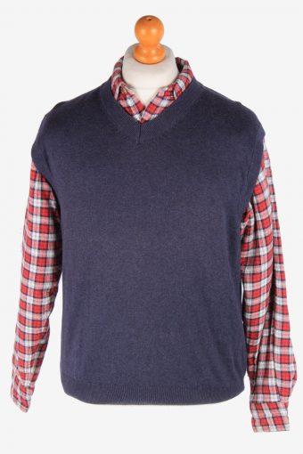 Sleeveless Jumper Sweater Vest Pullover Vintage Size L Navy -IL2635-164480