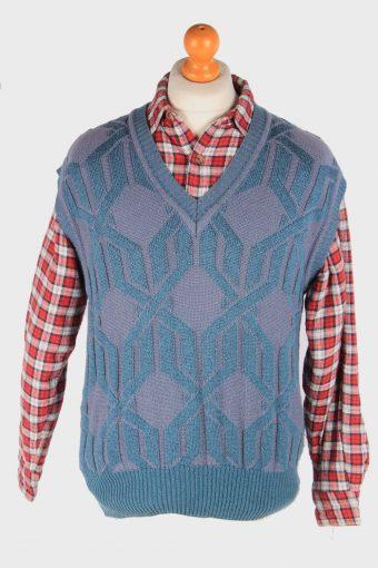 Sleeveless Jumper Sweater Vest Pullover 80s Light Green M
