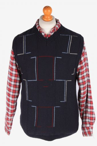 Sleeveless Jumper Sweater Vest Pullover Vintage Size M Navy -IL2637-164488
