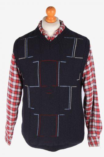 Sleeveless Jumper Sweater Vest Pullover 80s Navy M