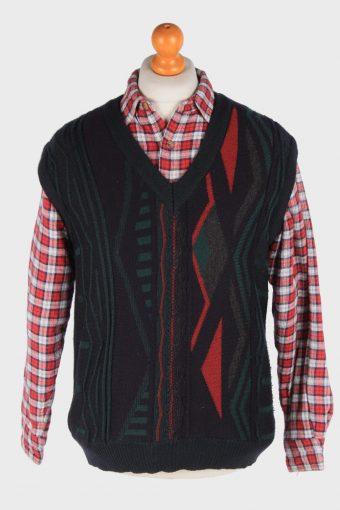 Sleeveless Jumper Sweater Vest Pullover 70s Multi M