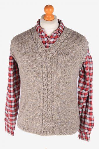 Sleeveless Jumper Sweater Vest Pullover Vintage Size S Beige -IL2639-164496