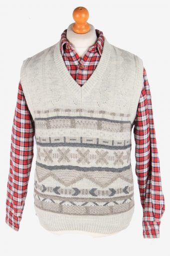 Sleeveless Jumper Sweater Vest Pullover 70s Grey M