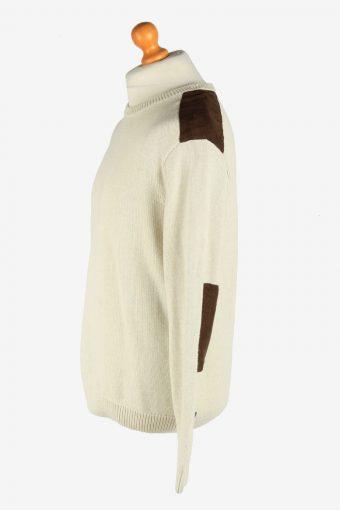 Chaps Crew Neck Jumper Patch Pullover Vintage Size L Beige -IL2456-161236