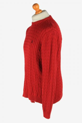Chaps Crew Neck Jumper Pullover Vintage Size M Red -IL2473-161304
