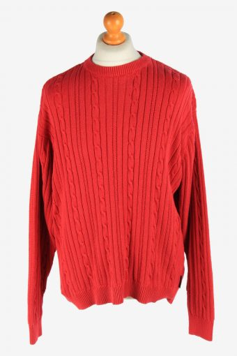 Chaps Crew Neck Jumper Pullover 90s Red L