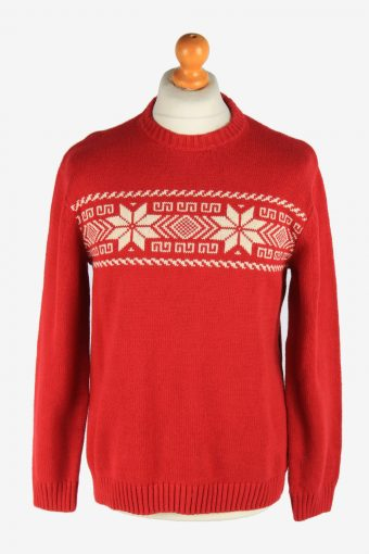 Chaps Crew Neck Jumper Pullover 90s Red M