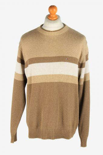 Tommy Hilfiger Crew Neck Jumper Pullover 90s Coffee L