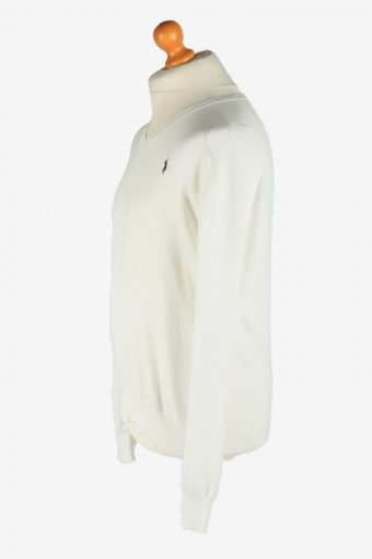 Polo Ralph Lauren V Neck Jumper Pullover Vintage Size L White -IL2490-161372
