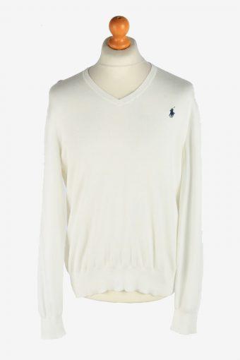Polo Ralph Lauren V Neck Jumper Pullover 90s White L