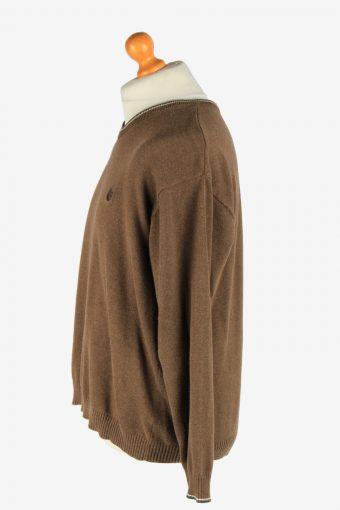 Chaps V Neck Jumper Pullover Vintage Size XL Brown -IL2494-161388