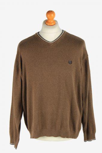Chaps V Neck Jumper Pullover 90s Brown XL