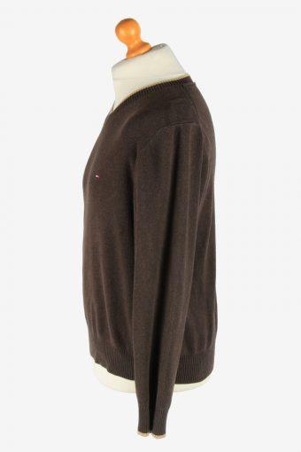 Tommy Hilfiger V Neck Jumper Pullover Vintage Size M Dark Brown -IL2495-161392