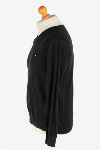 Tommy Hilfiger V Neck Jumper Pullover Vintage Size M Black -IL2499-161408