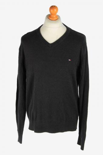 Tommy Hilfiger V Neck Jumper Pullover 90s Black XL