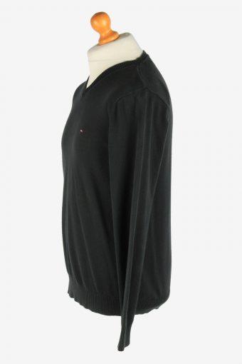 Tommy Hilfiger V Neck Jumper Pullover Vintage Size M Black -IL2501-161416