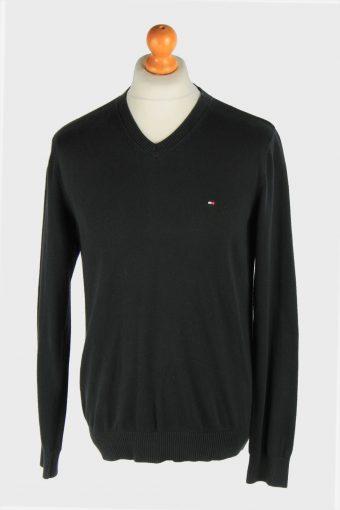 Tommy Hilfiger V Neck Jumper Pullover 90s Black M