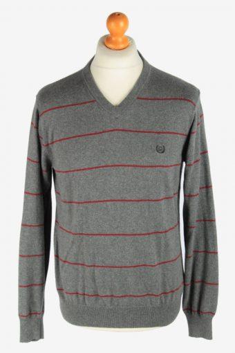 Chaps V Neck Jumper Pullover 90s Grey M