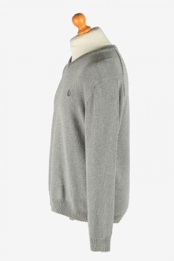 Chaps V Neck Jumper Pullover Vintage Size L Light Grey -IL2505-161432