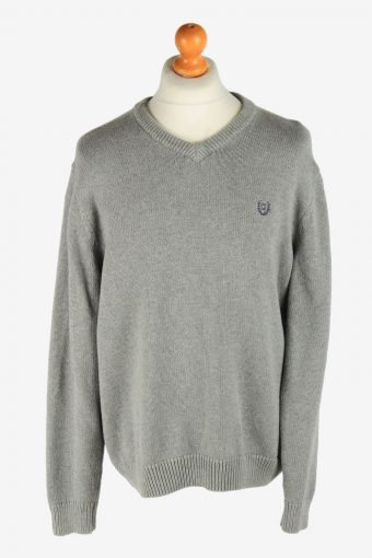 Chaps V Neck Jumper Pullover 90s Light Grey L