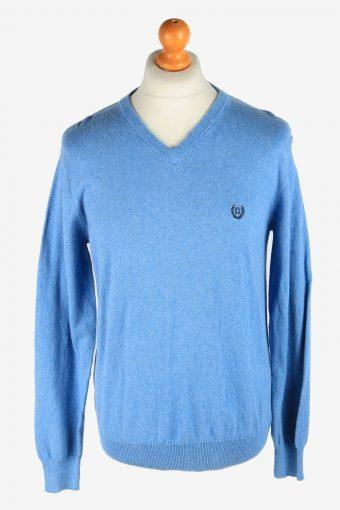 Chaps V Neck Jumper Pullover 90s Light Blue M