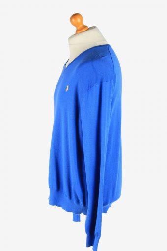 Polo Ralph Lauren V Neck Jumper Pullover Vintage Size XL Dark Blue -IL2509-161448