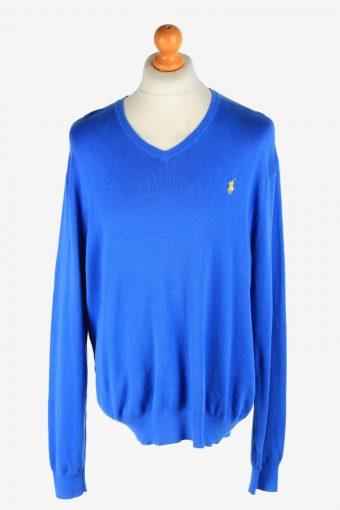 Polo Ralph Lauren V Neck Jumper Pullover 90s Dark Blue XL