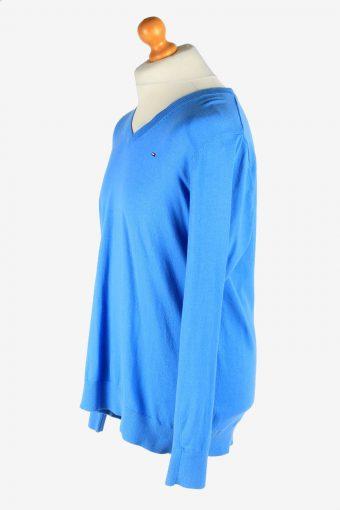 Tommy Hilfiger V Neck Jumper Pullover 90s Blue XXL