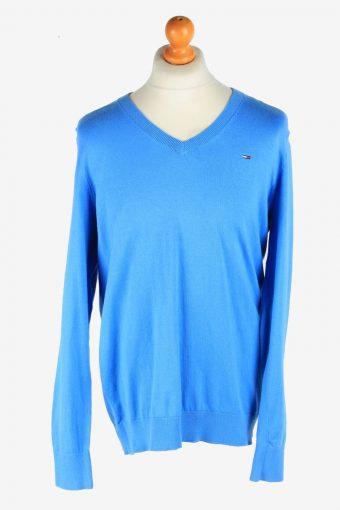 Tommy Hilfiger V Neck Jumper Pullover Vintage Size XXL Blue -IL2510-161835