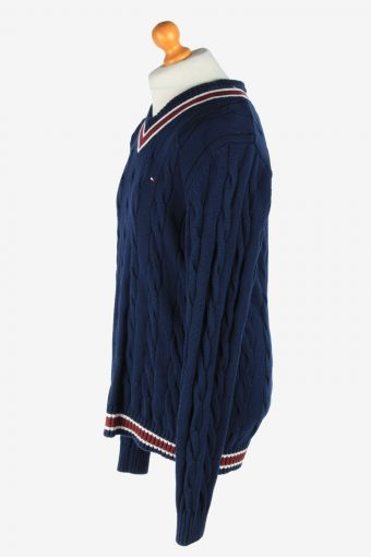 Tommy Hilfiger V Neck Jumper Pullover Vintage Size XL Navy -IL2513-161464