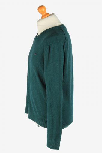 Tommy Hilfiger V Neck Jumper Pullover Vintage Size XL Dark Green -IL2517-161480