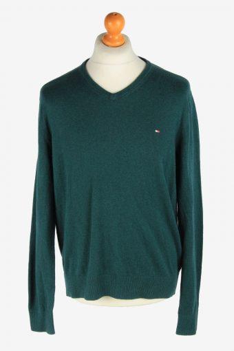 Tommy Hilfiger V Neck Jumper Pullover 90s Dark Green XL