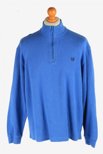Chaps Zip Neck Jumper Pullover Blue L