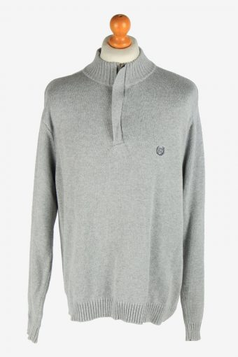 Chaps Zip Neck Jumper Pullover Grey XL