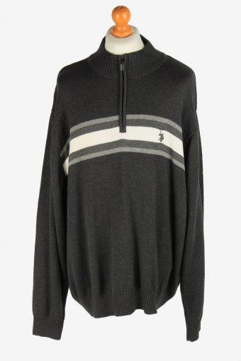90s Half Zip Neck Jumper Pullover U.S Polo ASSN. Dark Grey XXXL